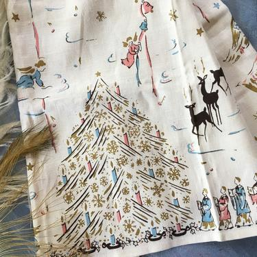 Mid Century Christmas Linen Towel, Angels With Trumpets, Christmas Tree With Pink And Blue Angels, Choir, Tea Towel Boys by luckduck