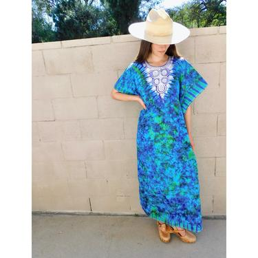 Ocean Dress // vintage tie dye blue green embroidered Indian boho cotton sun caftan kaftan maxi hippie hippy 70s 1970s // O/S by FenixVintage