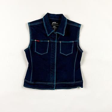 90s FUBU Dark Wash Stretch Denim Vest / Blue Contrast Stitching / Rubber Logo / Large / Streetwear / 00s / y2k / Baby Phat / Sleeveless / by shoptrashdotnet