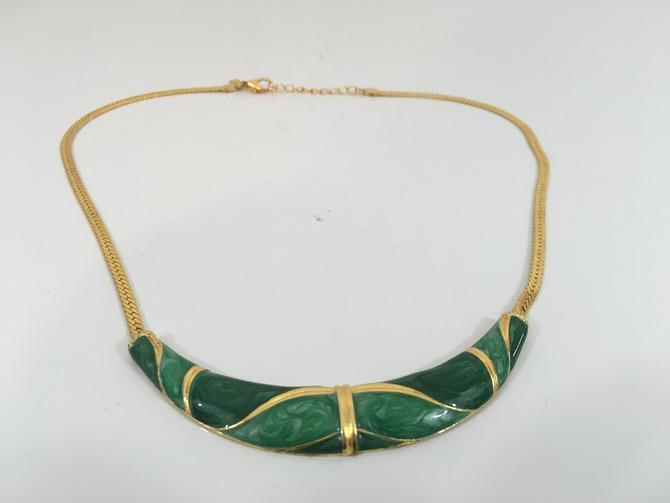 Vintage Cloisonne Gold Green Necklace Lady Remington Lia Sophia Jade LR Statement Mid Century Modern Megan Draper Costume Jewelry 1970s by CheckEngineVintage