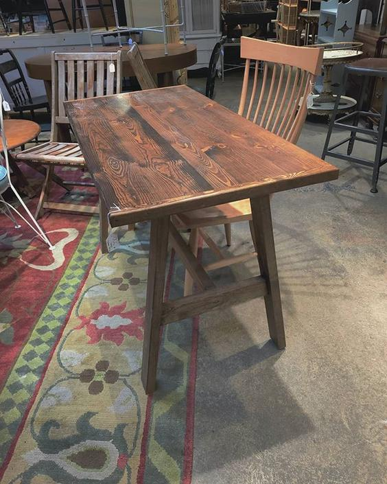 "Trestle style pine desk/ table. 24"" deep 48"" wide 30"" tall"