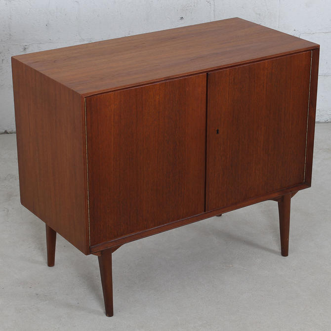Early Danish Modern Teak Compact Chest / Locking Storage Cabinet