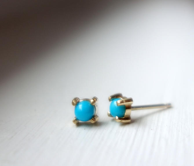 14k Yellow Gold Sleeping Beauty Turquoise Prong Studs by RachelPfefferDesigns