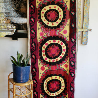 Bohemian Middle Eastern, Moroccan, Indian Colorful Woven Wall Hanging, Boho Tapestry, Pom Pom Fringe, Tropical, Exotic, Hippie by FORAGEmodernhome