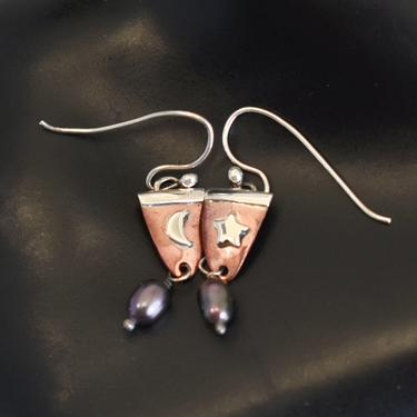 Whimsical 80's Far Fetched 925 sterling silver copper pearl celestial shield dangles, dainty mixed metal peacock pearl star moon earrings by BetseysBeauties