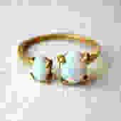 Ready to Ship - Brass Dual Stone Ring- Opal and Opal by RachelPfefferDesigns