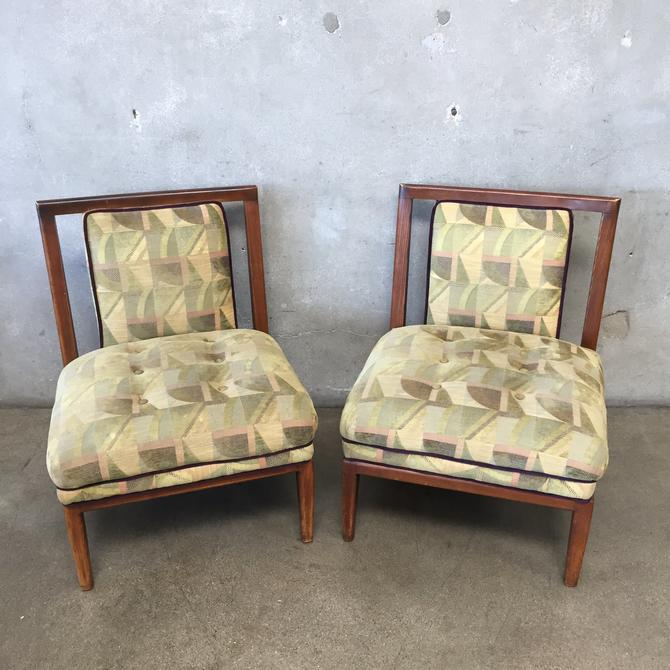 Pair of Mid Century Hardwood Upholstered Chairs
