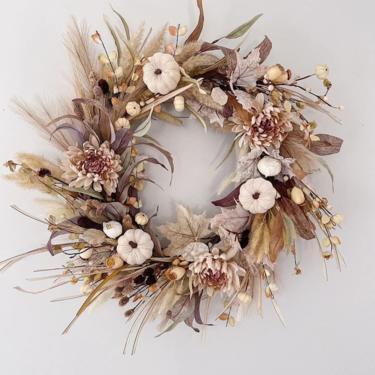 Large Blush and Mauve Neutral Fall Wreath, Boho Fall Grasses Wreath, Neutral Wreath, Neutral Fall Decor, Front Door Wreath, Fall Wreath by NovaWreaths