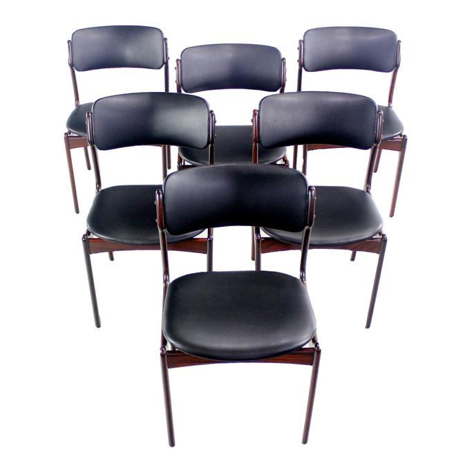 Set of Six Danish Modern Rosewood Dining Chairs by Erik Buck