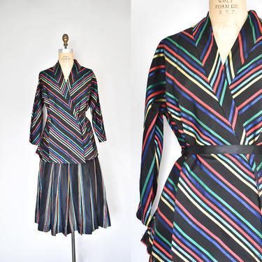 Rare 1940s Maxan skirt & jacket, stripes taffeta pleated skirt, plus size vintage jacket, rainbow, chevron, 1950s by ErstwhileStyle