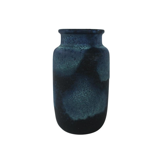 1960s Mid Century Modern Scheurich Blue Fat Lava Pottery Vase by MetronomeVintage