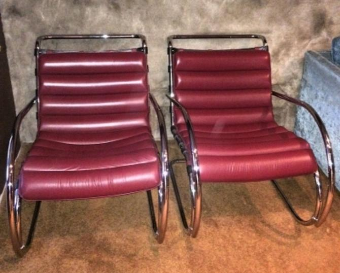 Astounding Mies Van Der Rohe Pair Lounge Chairs Mr 40 Series Red Leather Near Perfect Squirreltailoven Fun Painted Chair Ideas Images Squirreltailovenorg