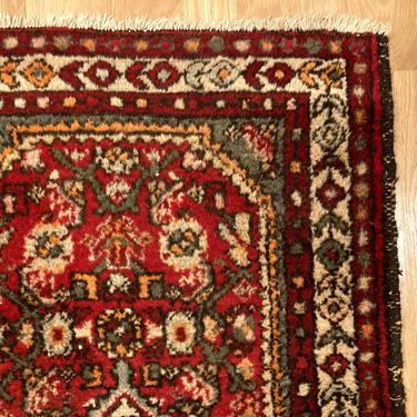 Vintage Rug 2' x 2' 11 Red Small Farmhouse Rug by JessiesOrientalRugs