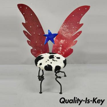 Child Size Butterfly Wings Blue & Red Wrought Iron
