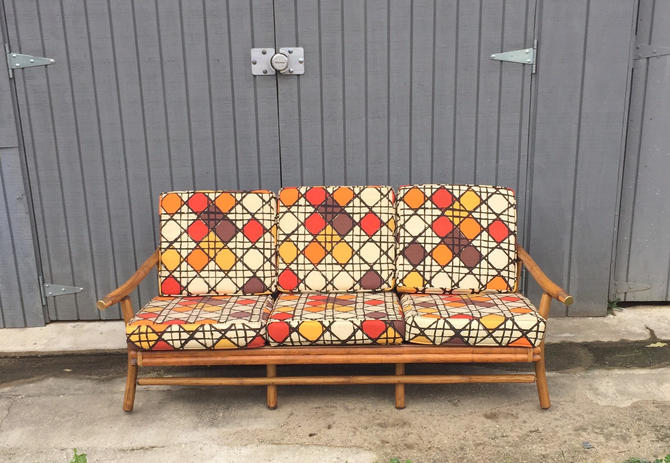 Vintage Mid Century bamboo and brass sofa - Pickup and delivery to selected cities by UrbanInteriorsBalt