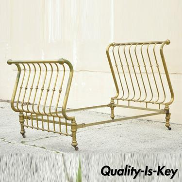Antique Victorian Full Size Gold Brass Sleigh Bed w Cast Iron Rails, Marked 1908