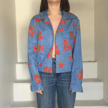 1970's Handmade Strawberry Bandana Printed Denim Jacket by AmalgamatedShop