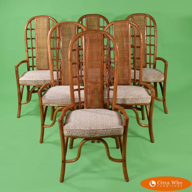 Set of 6 Rattan Chairs in The Style of Henry Olko