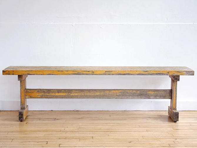 Distressed Staved Maple Bench
