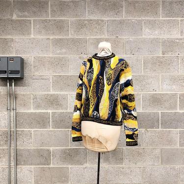 Vintage Coogi Sweater Retro Unisex Size S Yellow + Black + White + Blue Knit Long Sleeve Crew Neck Pullover Australia Fall Winter Fashion by RetrospectVintage215