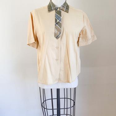 Vintage 1950s Custard Yellow Shirt / XS by MsTips