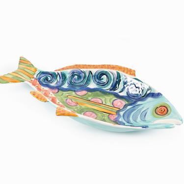 1994 Vicki Carroll Ceramic Fish Platter Large by VintageInquisitor
