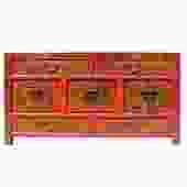 Chinese Distressed Brick Red Graphic Low TV Console Table Cabinet cs5193S