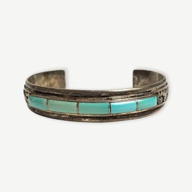 Vintage Signed NAVAJO Sterling Silver & Turquoise Bracelet / Cuff ~ Artisan ~ by SparrowsAndWolves
