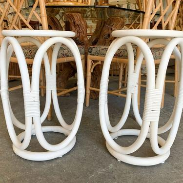 Pair of Ficks Reed Round End Tables