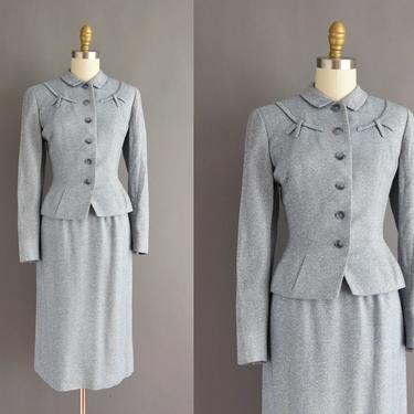 50s vintage dress - 2pc blue nipped waist jacket and pencil skirt suit dress - Size XS Small - vintage 1950s dress by simplicityisbliss