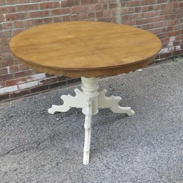 Antique Pine Round Pedestal Table with Waxed Top and Painted Base