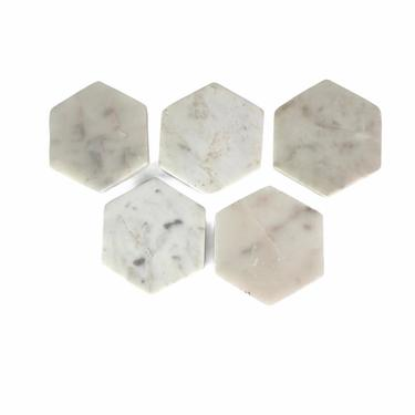 White Octagon Marble Coasters, set of 5 by Northforkvintageshop