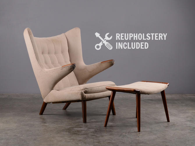 Hans Wegner Papa Bear Chair and Ottoman AP Stolen AP19 by MadsenModern