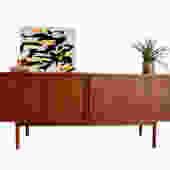 LONG Mid Century Modern TAMBOUR CREDENZA media stand by Jens Quistgaard for Lovig by CIRCA60