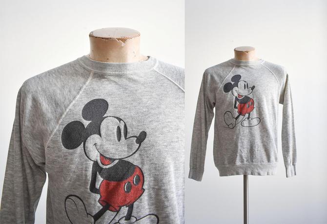 1980s Gray Mickey Mouse Raglan Sweatshirt by milkandice
