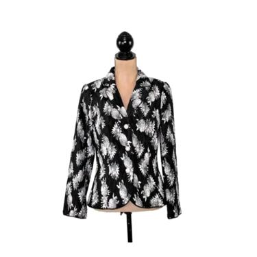Black & White Blazer Jacket with Pineapple Print, Novelty Tropical Hawaiian Resort, 2000s Clothes Women Small Medium, Y2K Vintage Clothing by MagpieandOtis
