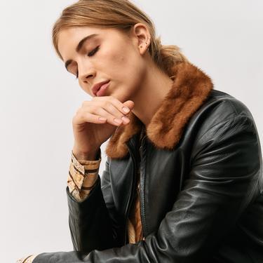 Dolce & Gabbana Brown Leather Jacket, Size 42