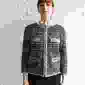 Chanel Tweed Zip Up Jacket, Size 42