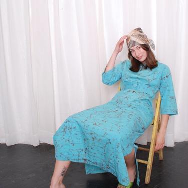 Vintage Turquoise Bark Print Cotton Maxi Dress (Medium) by 40KorLess