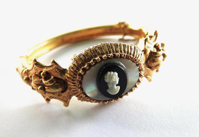1960s Victorian Revival Cameo Bangle/Cuff Bracelet by LegendaryBeast
