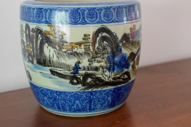 Blue, White and Black Chinoiserie/Asian Planter by CapitolVintageCharm