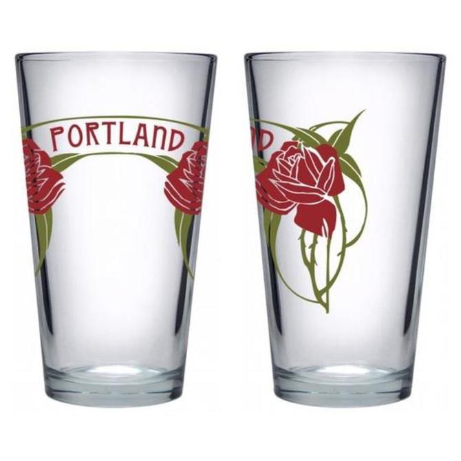 Portland Roses Pint Glass - Set of 2
