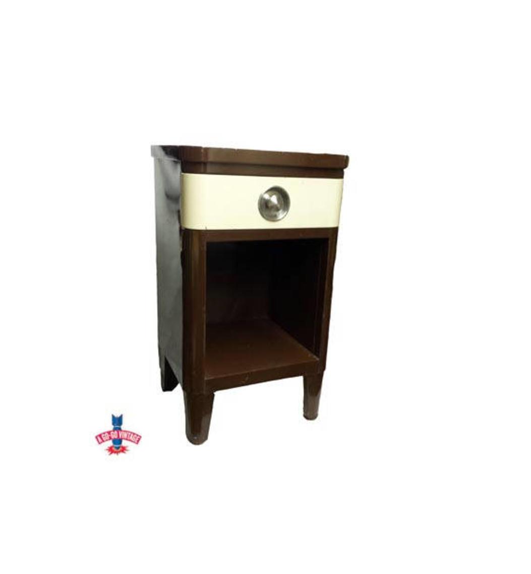Norman Bel Geddes Nightstand Antique Art Deco Dresser Vintage Industrial Steel Machine Age