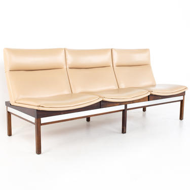 Arthur Umanoff Mid Century Walnut and Stainless Three Seat Sofa Bench - mcm by ModernHill