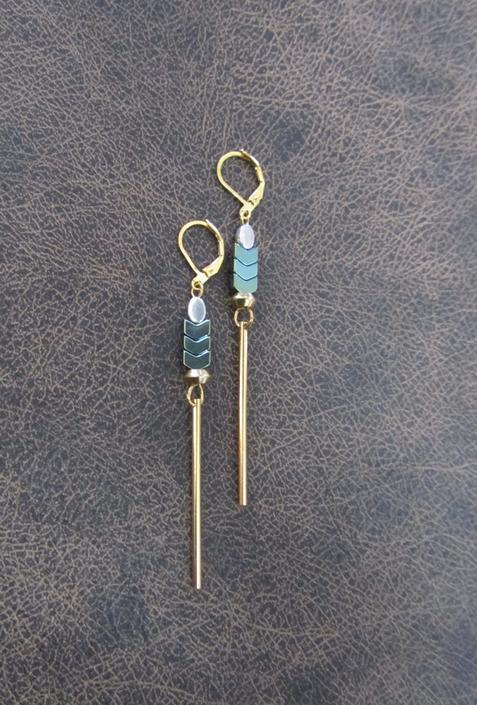 Minimalist earrings, long geometric brass earrings, mid century modern earrings, Brutalist earrings, teal hematite earrings, gold dangle by Afrocasian