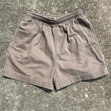 90's 100% cotton high waisted sports shorts~ elastic drawstring waist with pockets~ gym shorts activewear~  size 4-6 washed out khaki brown by HattiesVintagePDX