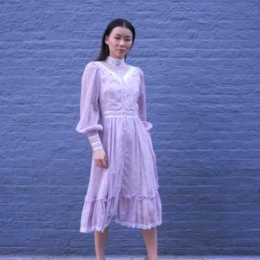 Vintage Lavender Lace Prarie Dress | Victorian Collar | Lace Midi Dress | Bell Sleeve Dress | Long Sleeve Dress | High Collar | 1970s Dress by HamletsVintage