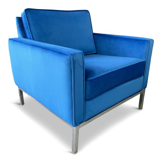 Steelcase Chromed Steel Lounge Chair Draped in Blue Velvet Mid Century