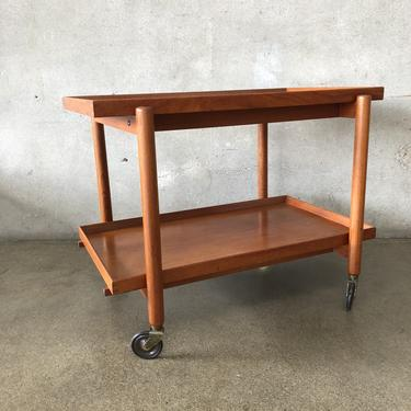 Mid Century Teak Bar Cart with Sliding And Removable Tray