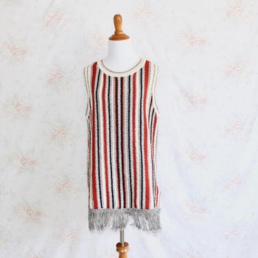 Vintage 70s Sweater Dress, 1970s Sweaterdress, Fringe Dress, Striped Dress, Boho Dress, Hippie Dress, Knit Dress, Tunic by WildwoodVintage